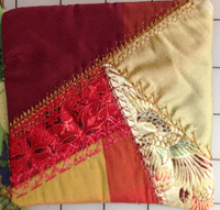 crazy quilt red silk