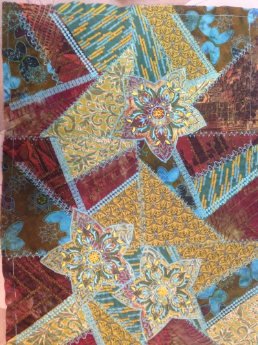 A small crazy quilt...not yet finished.